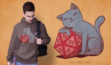 Diseño de camiseta de gato con dados.