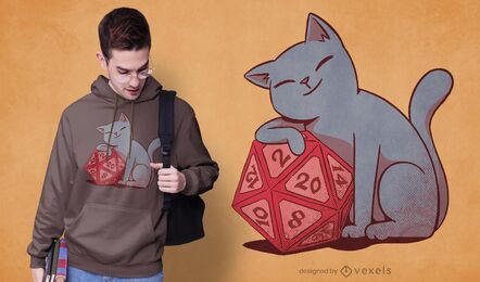Gato com desenho de camiseta de dados