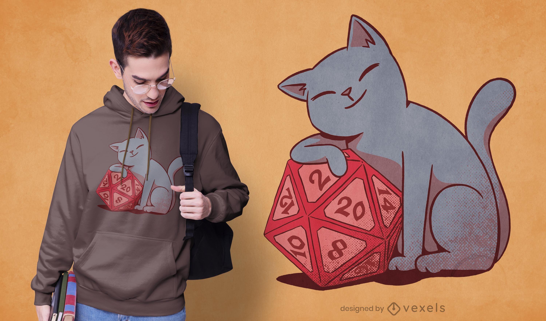 Cat with dice t-shirt design