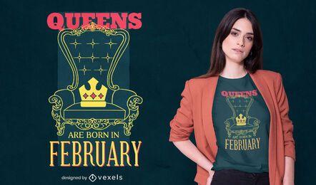 Rainhas nascem no design de camisetas febraury