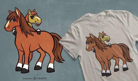 Design de camisetas de cavalos de desenhos animados
