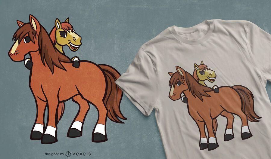 Diseño de camiseta de caballos de dibujos animados.
