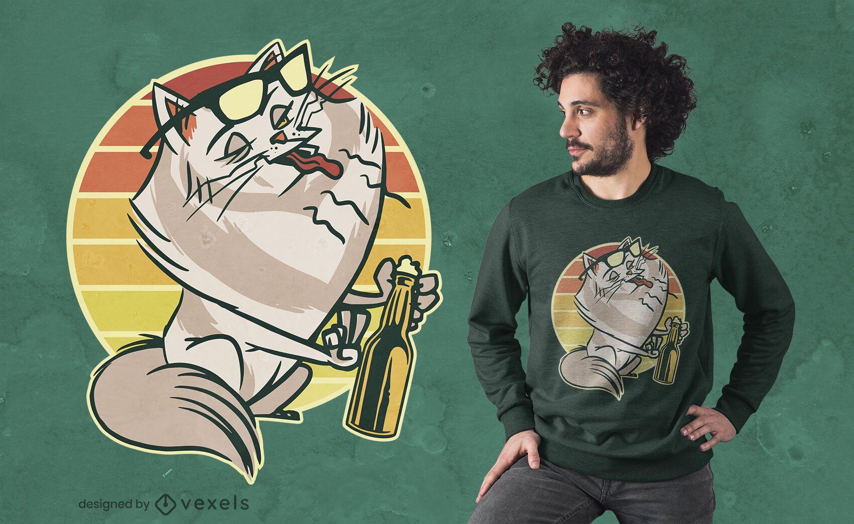 Diseño de camiseta de gato eructo