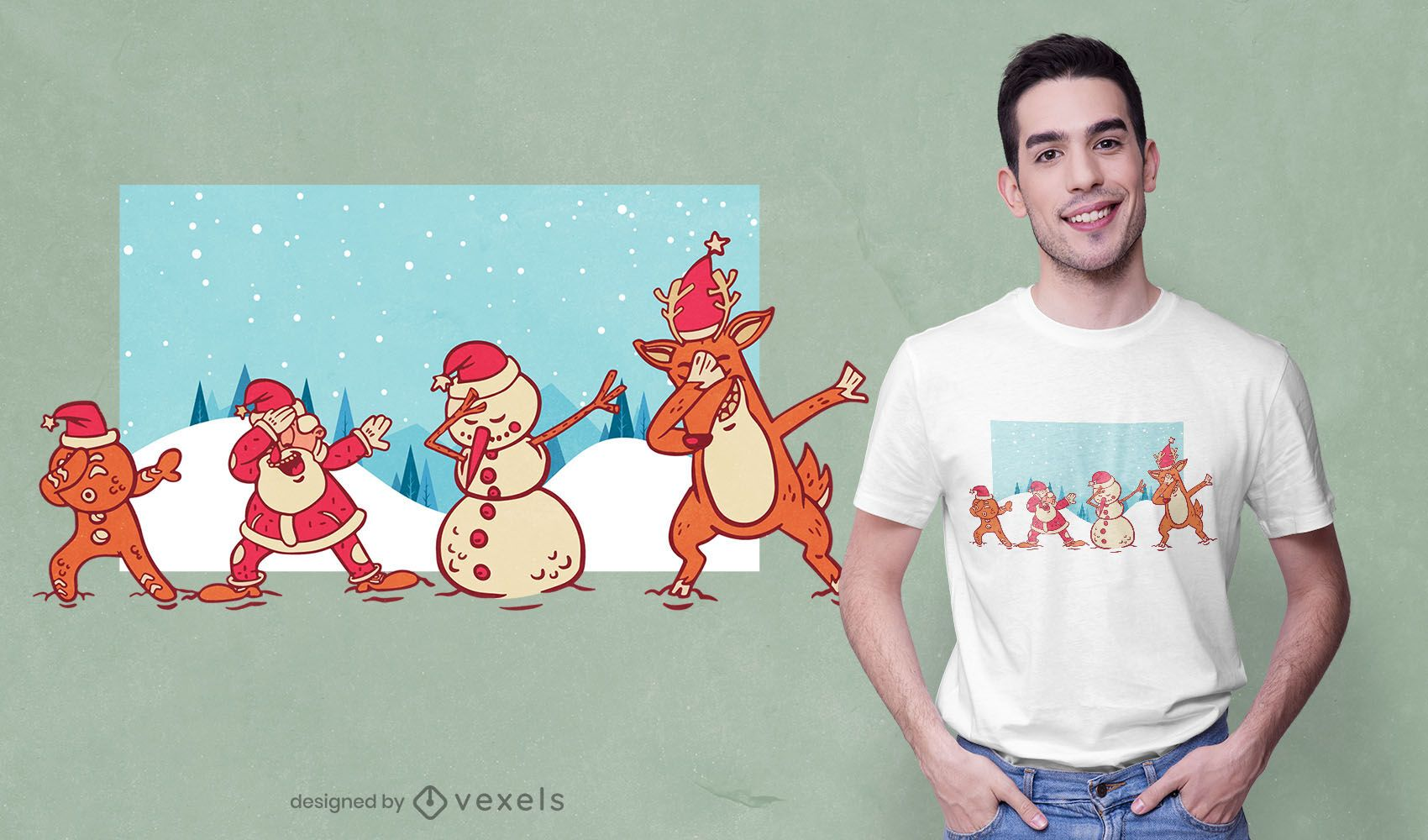 Christmas dab t-shirt design