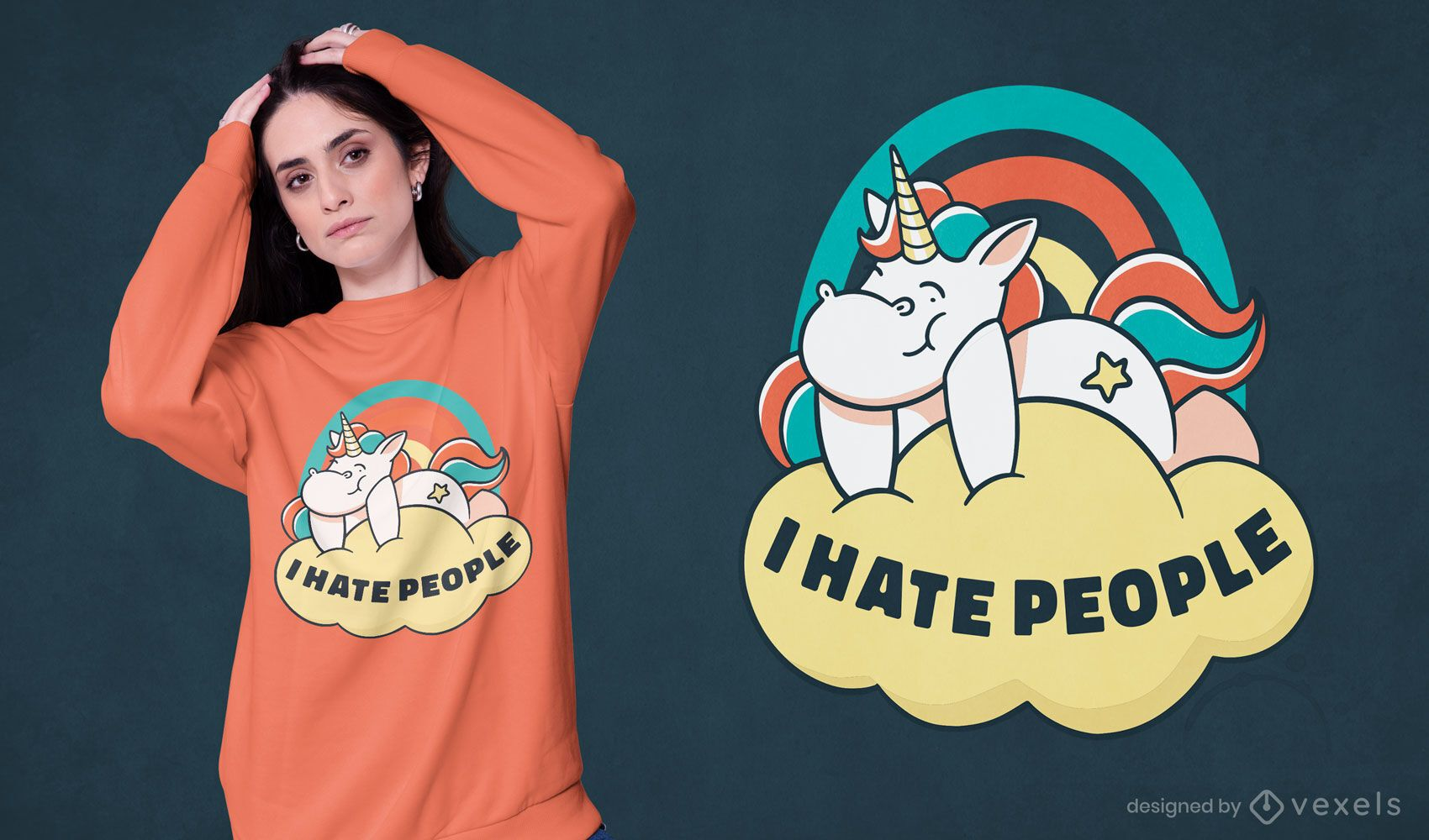 Eu odeio gente design de camisetas