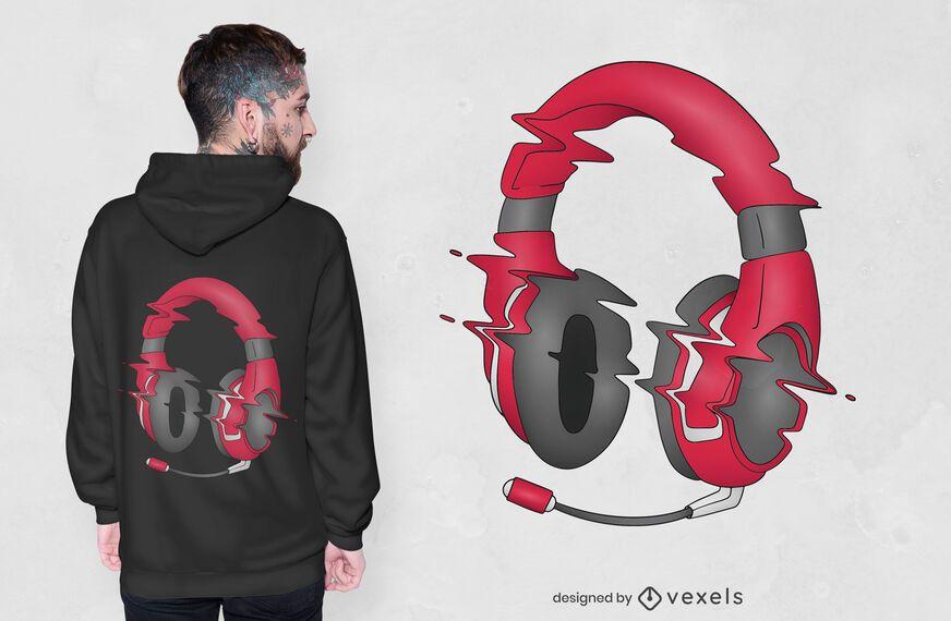 Diseño de camiseta de auriculares Glitchy