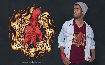 Design de camiseta do Maine Coon em chamas