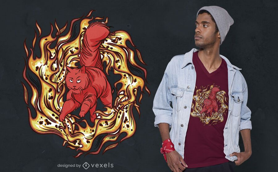 Maine coon on fire t-shirt design