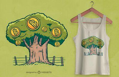 Design de camiseta com árvore Bitcoin