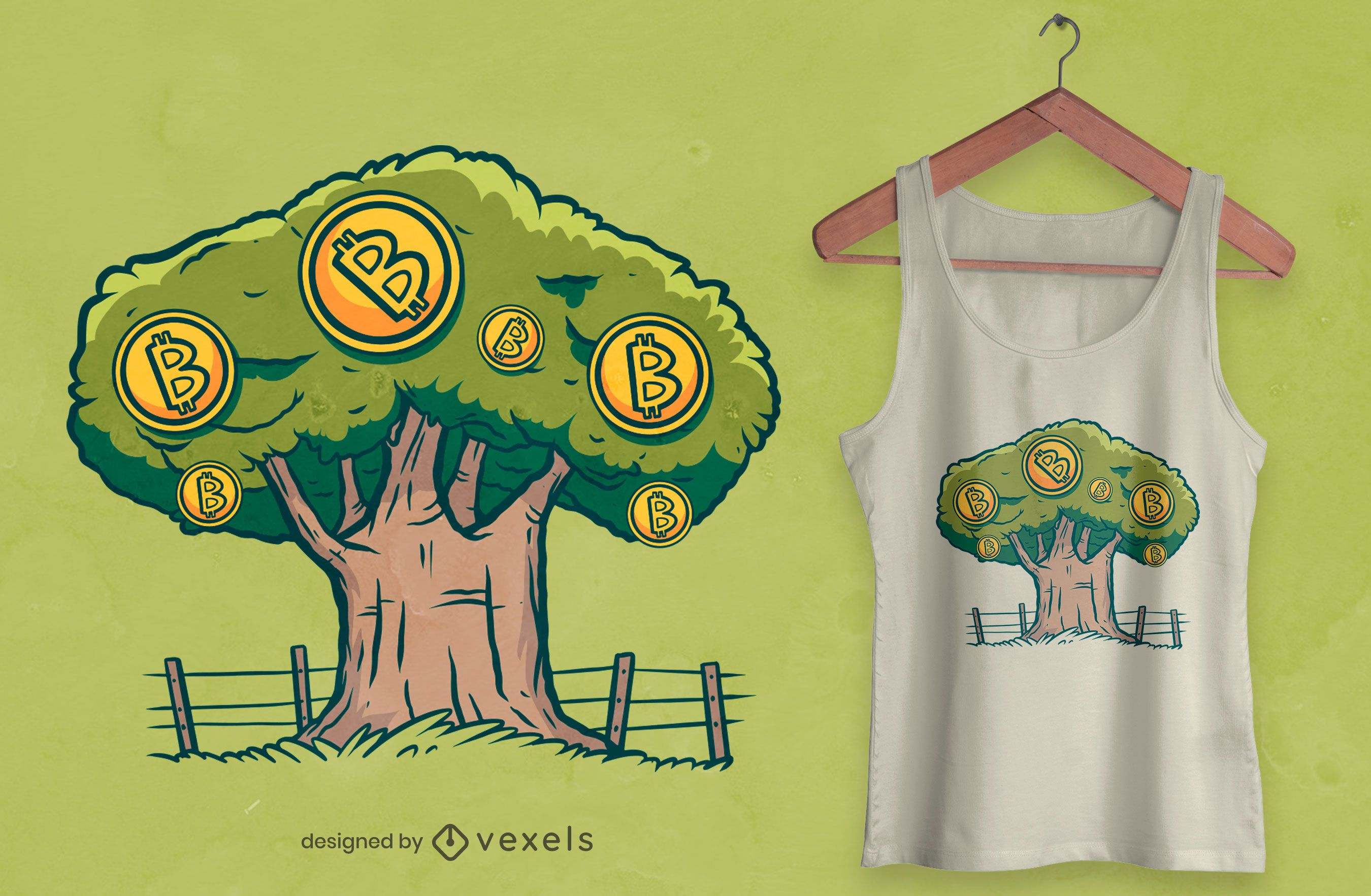 Diseño de camiseta de árbol de Bitcoin