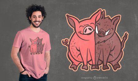 Diseño de camiseta de cerdo y jabalí.