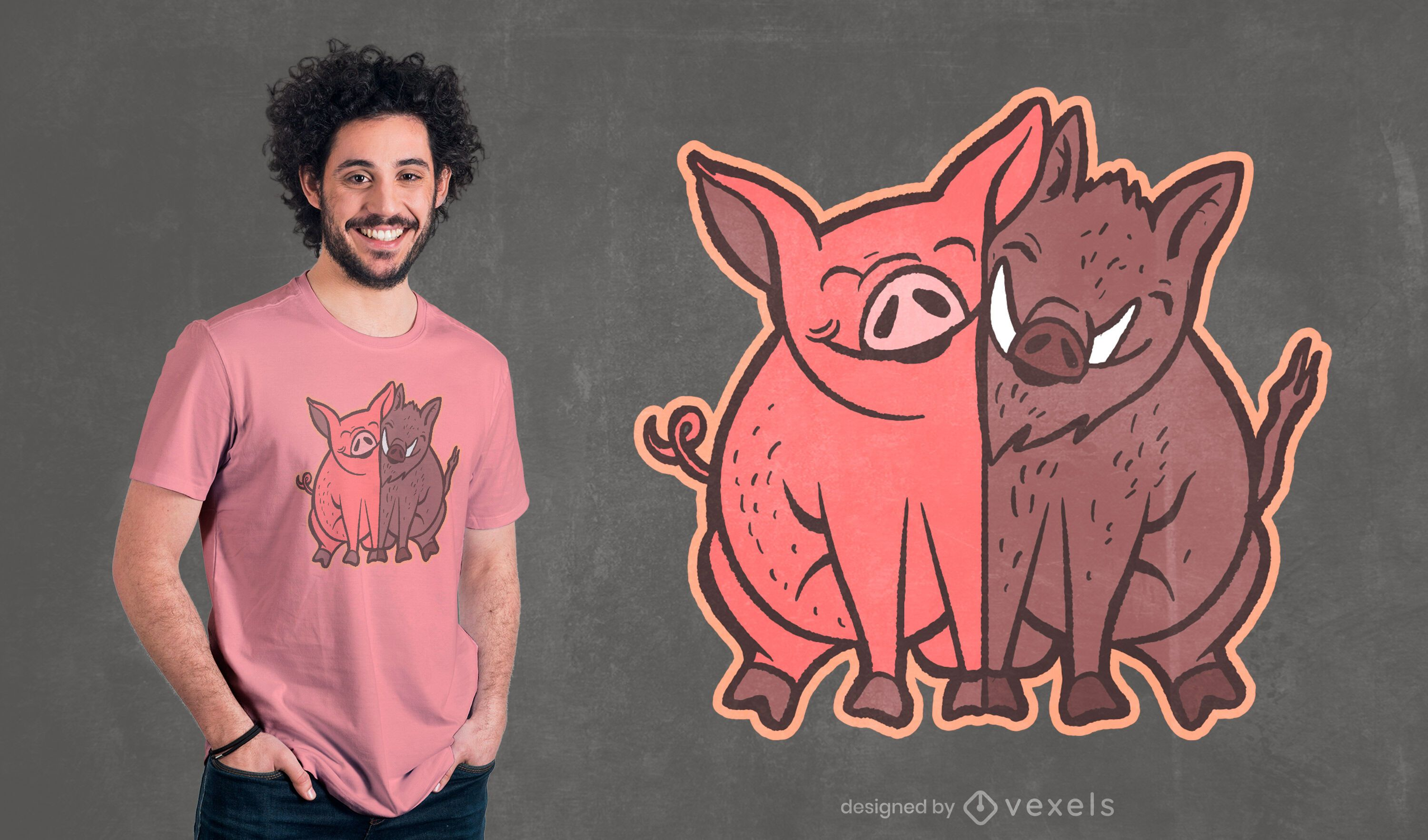 Pig and wild boar t-shirt design