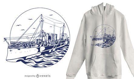 Diseño de camiseta de barco navegando.