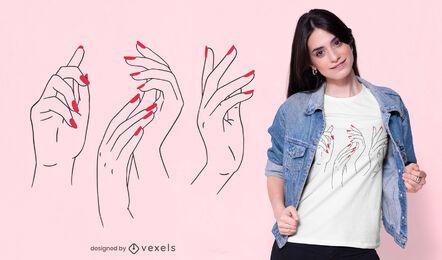 Diseño de camiseta de manos de mujer