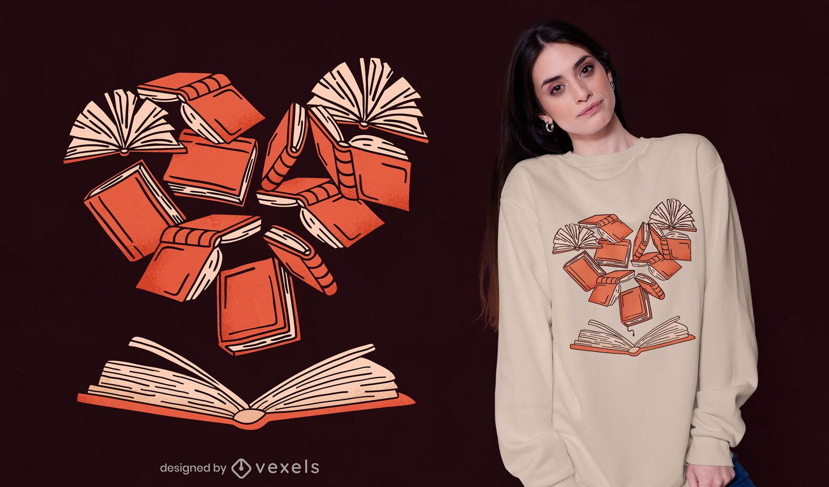 Diseño de camiseta de libro de corazón