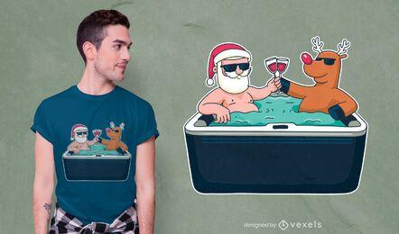 Christmas jacuzzi t-shirt design