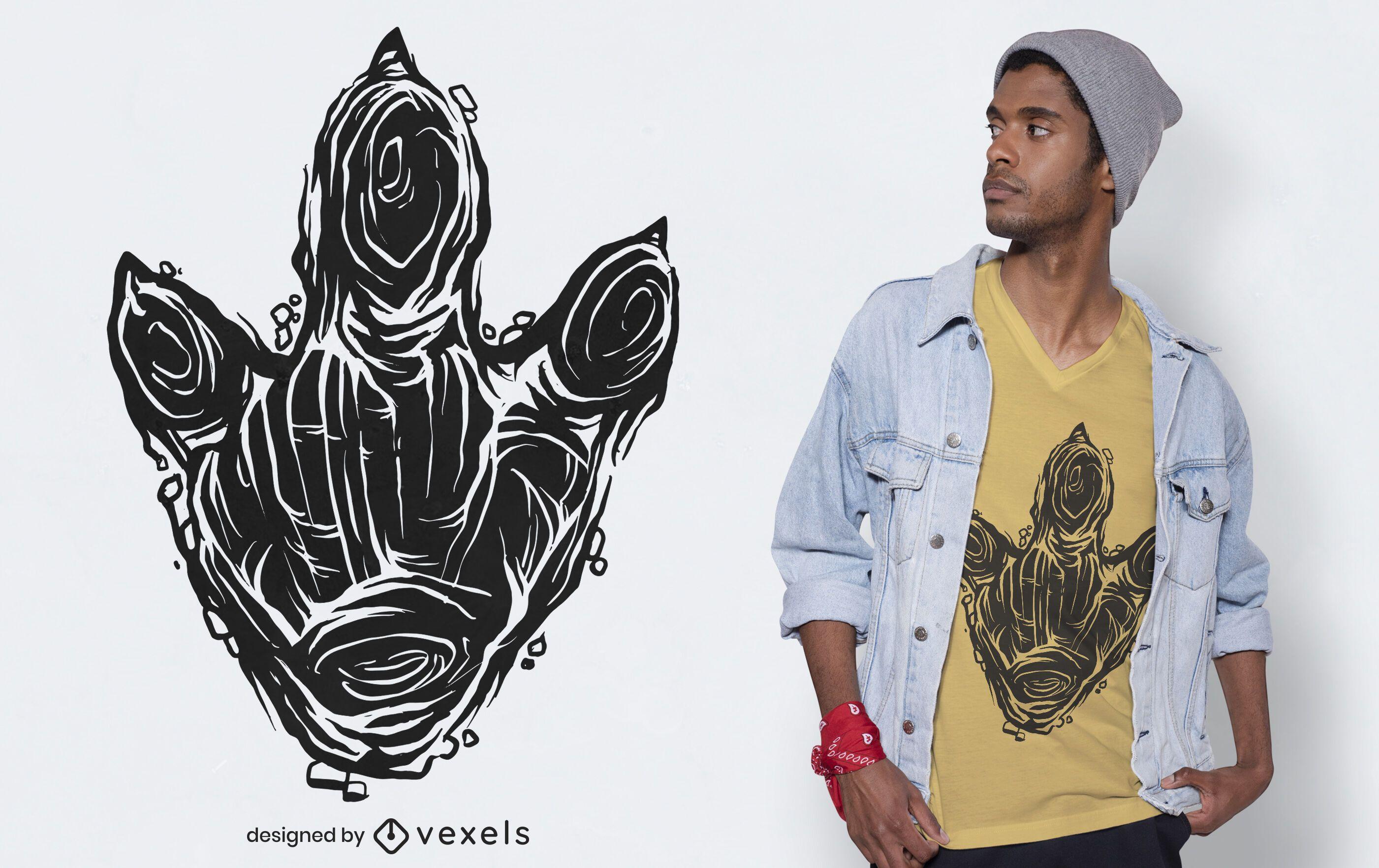 Diseño de camiseta con huella de dinosaurio.