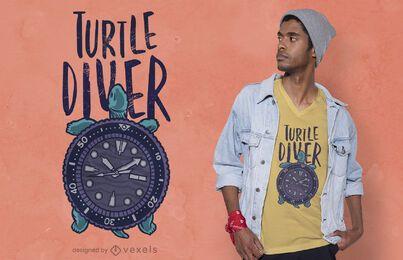 Diseño de camiseta de buzo tortuga