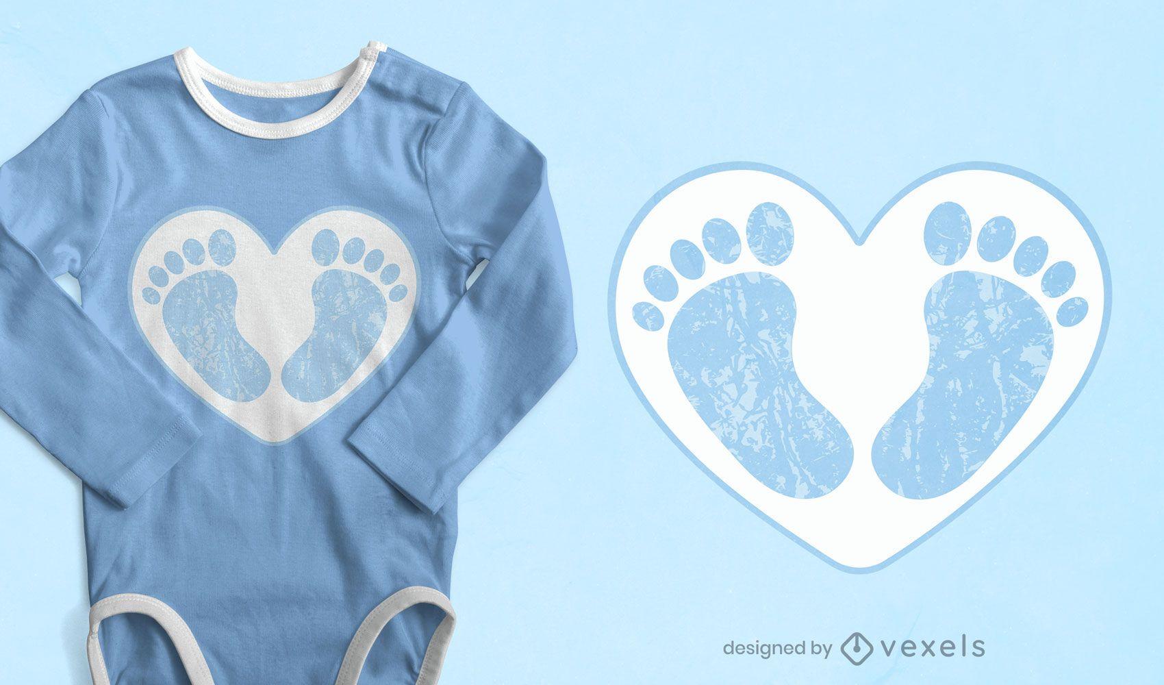 Diseño de camiseta de pies de bebé.