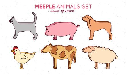 Meeple animals set design