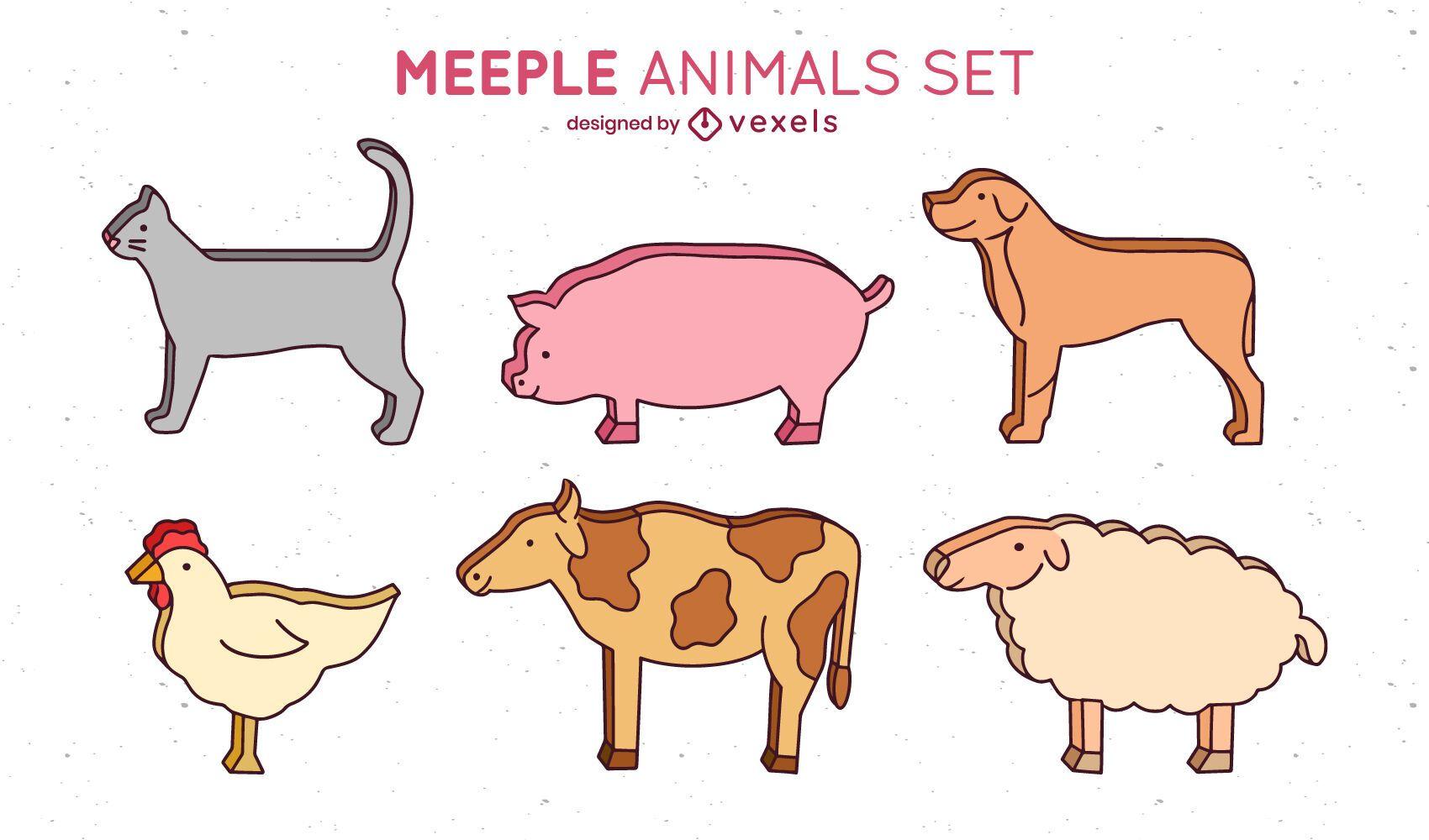 Diseño de escenografía de animales Meeple