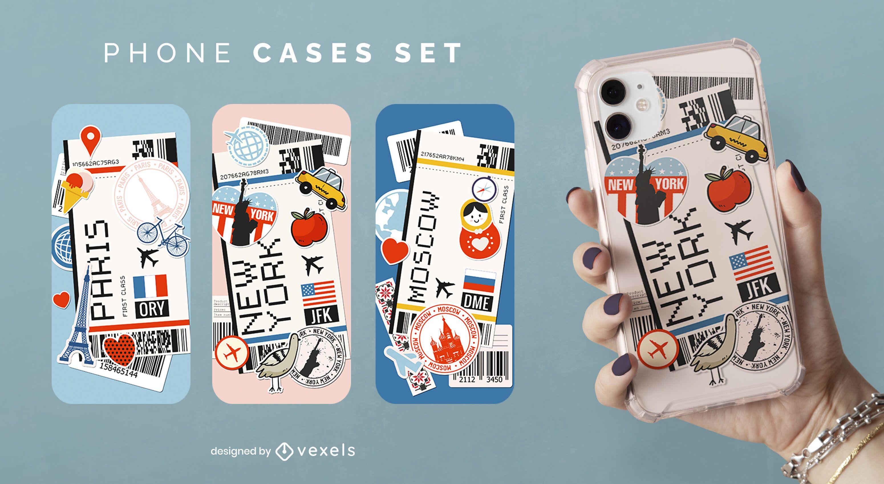 Conjunto de capa de telefone para cartão de embarque