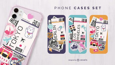 Boarding passes phone case set