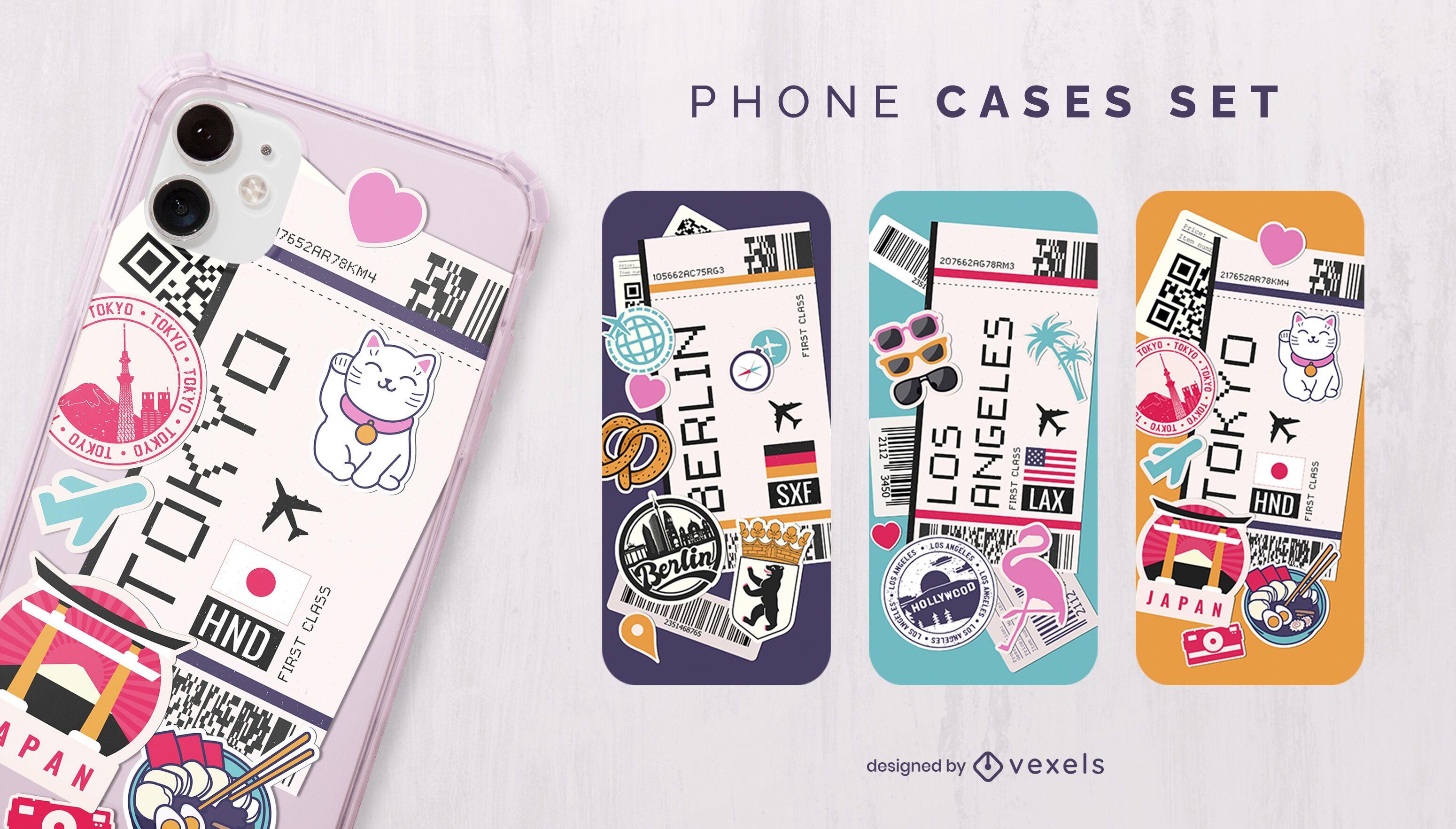 Boarding passes phone case set