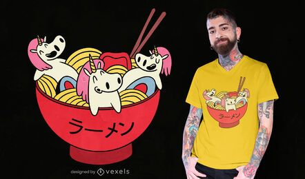 Design de t-shirt Unicorn ramen