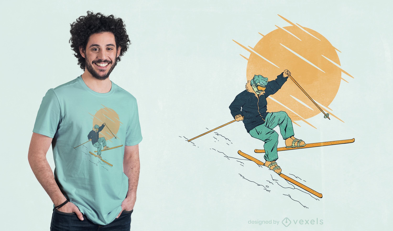 Diseño de camiseta cayendo esquiador.