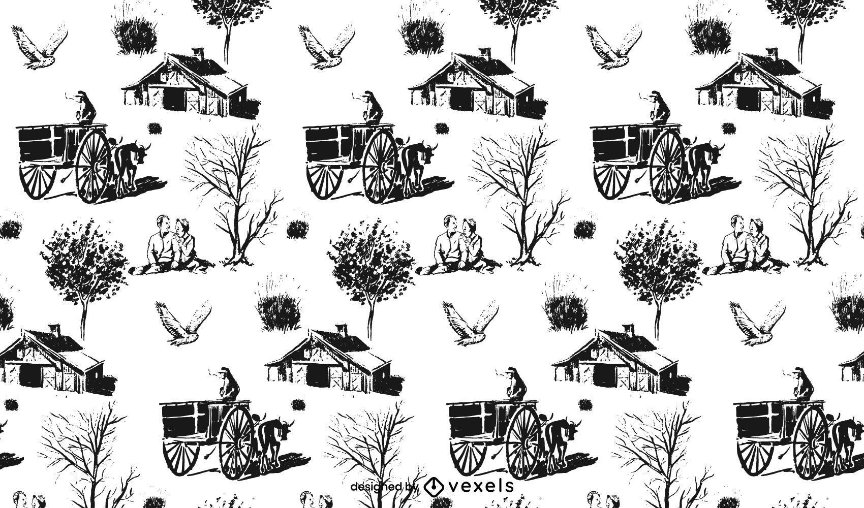 Desenho de padrão cottagecore desenhado à mão