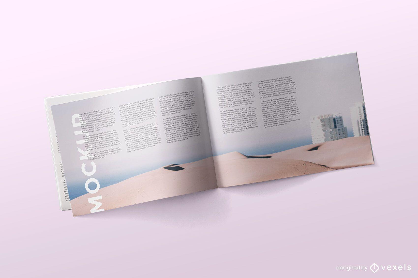 Maqueta de revista abierta diseño psd