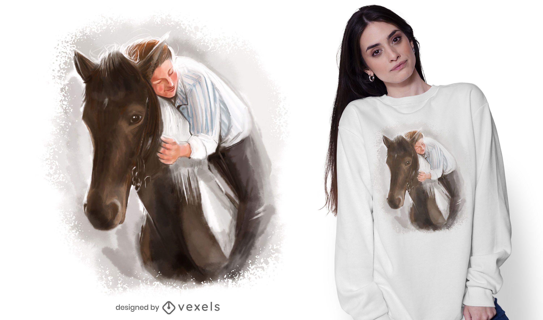 Diseño de camiseta hombre y caballo.