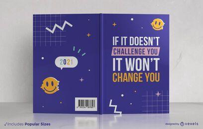 Design de capa de livro de citação de desafio