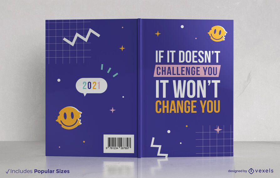Diseño de portada de libro de cita de desafío