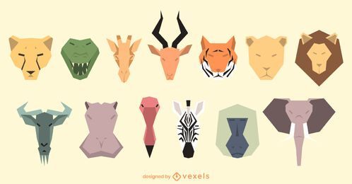 Geometric animal heads set design