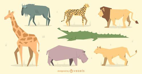 Conjunto de design de animais geométricos planos