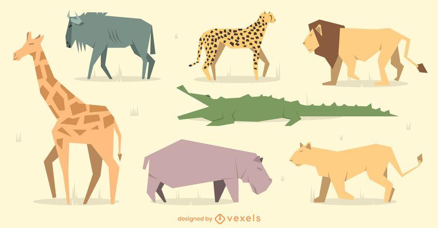 Conjunto de diseño de animales geométricos planos