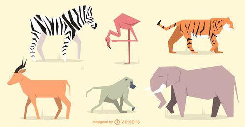 Conjunto de design geométrico de animais planos