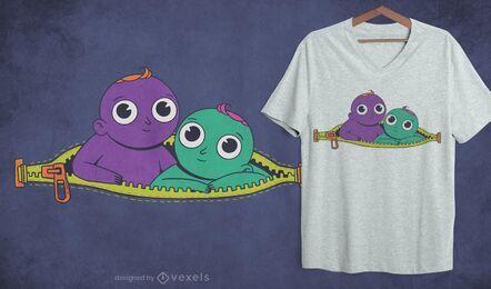 Design de t-shirt zipper twins