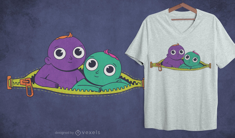 Diseño de camiseta de gemelos con cremallera