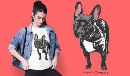 Diseño de camiseta realista de bulldog francés.