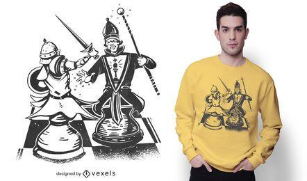 Diseño de camiseta de lucha de piezas de ajedrez.