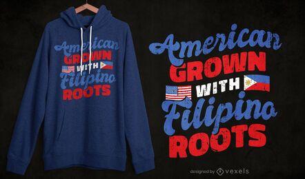 Design de t-shirt filipino americano