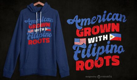Diseño de camiseta filipino americano
