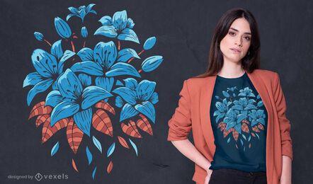 Design de camisetas de lírios azuis