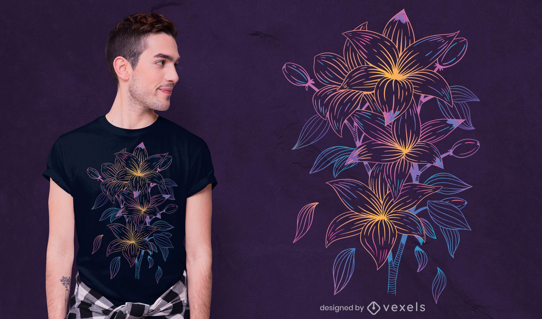 Detailliertes Lilien-T-Shirt-Design