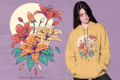 Diseño de camiseta de lirios coloridos