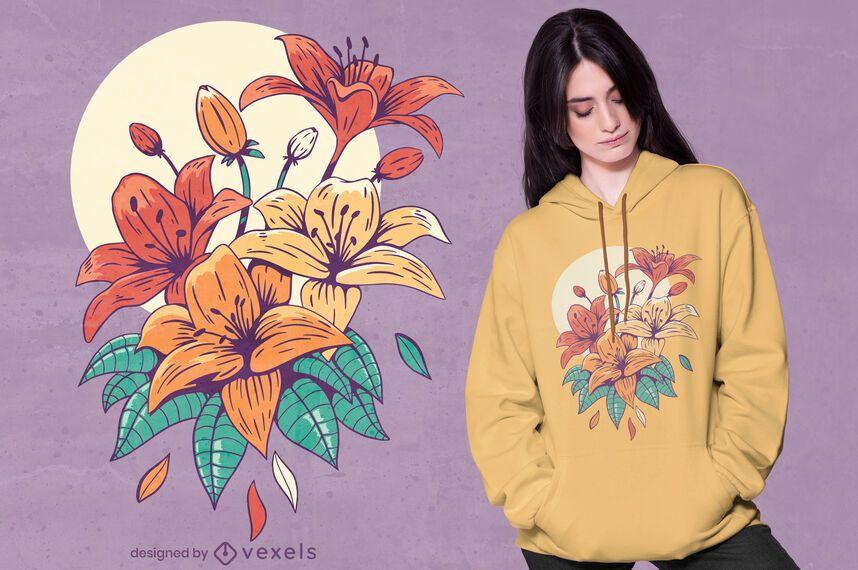 Colorful lillies t-shirt design