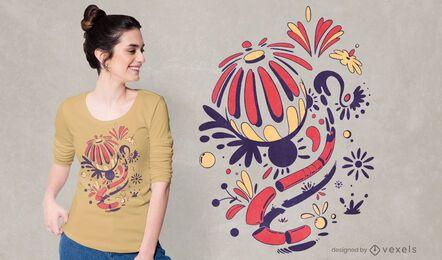 Desenho de camisetas com flores abstratas